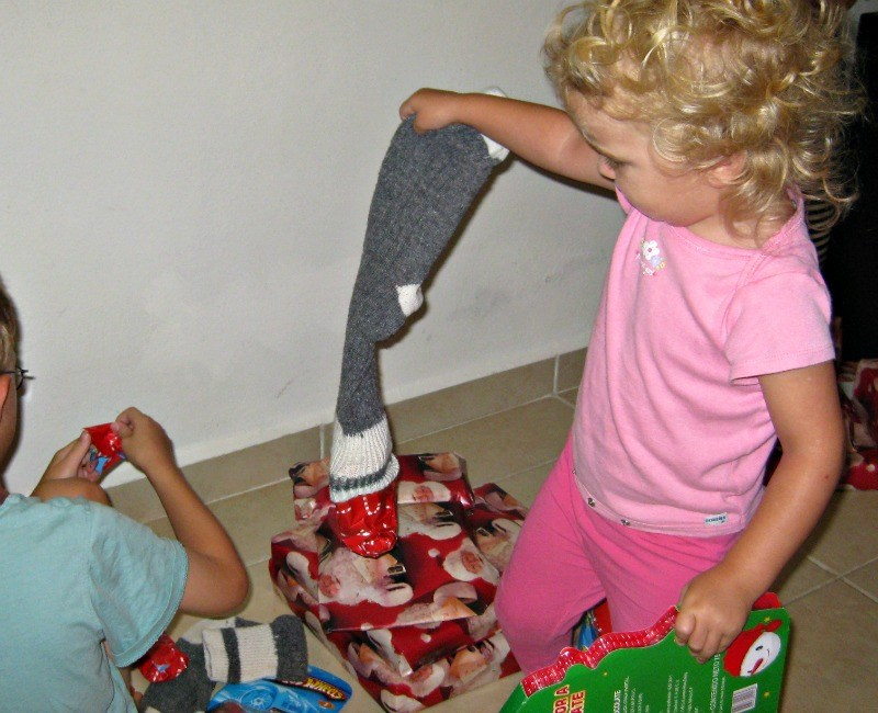 Our Makeshift Christmas Stocking in Playa del Carmen 2010
