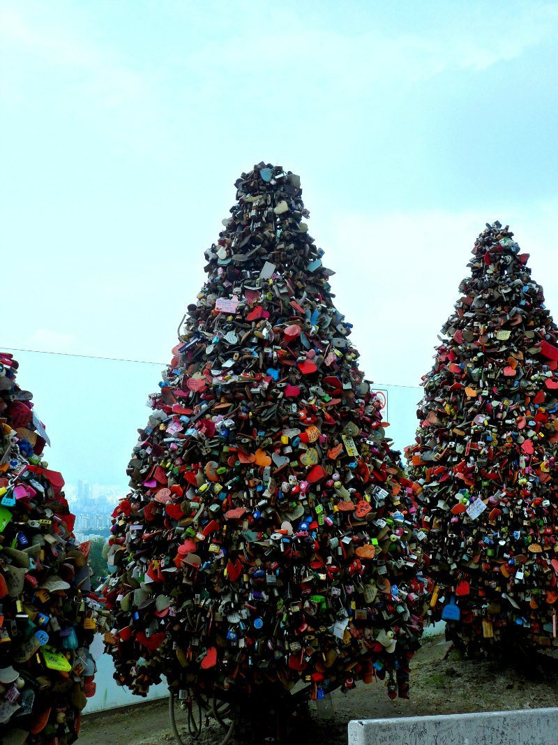 Love Locks at Namsan Tower Cheonggyecheon Stream Seoul Korea
