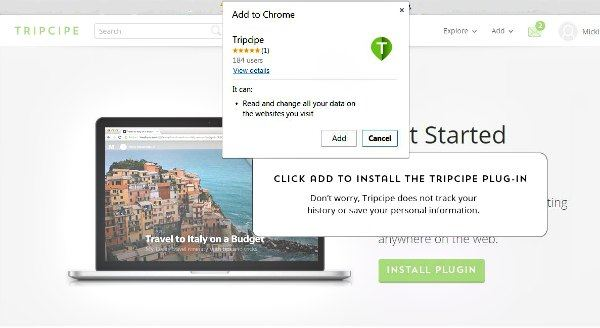 Tripcipe Chrome Plugin Install
