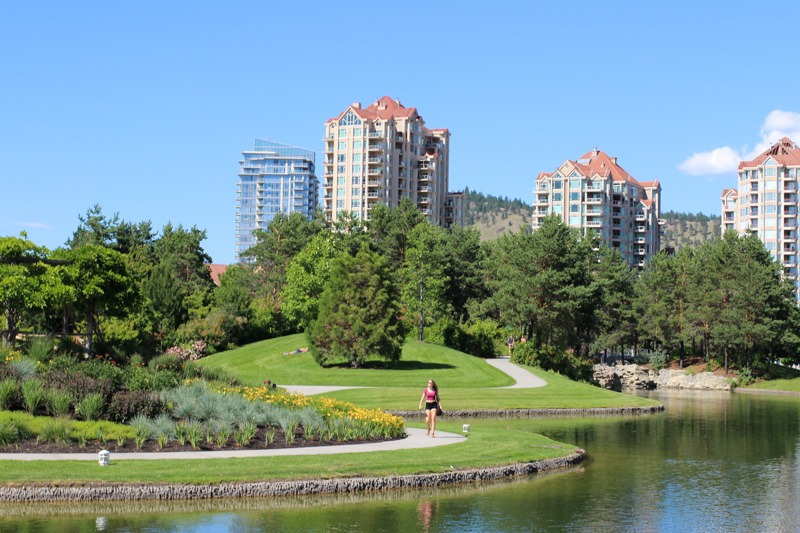 View of the Delta Grand from Kelowna Waterfront Park-1820