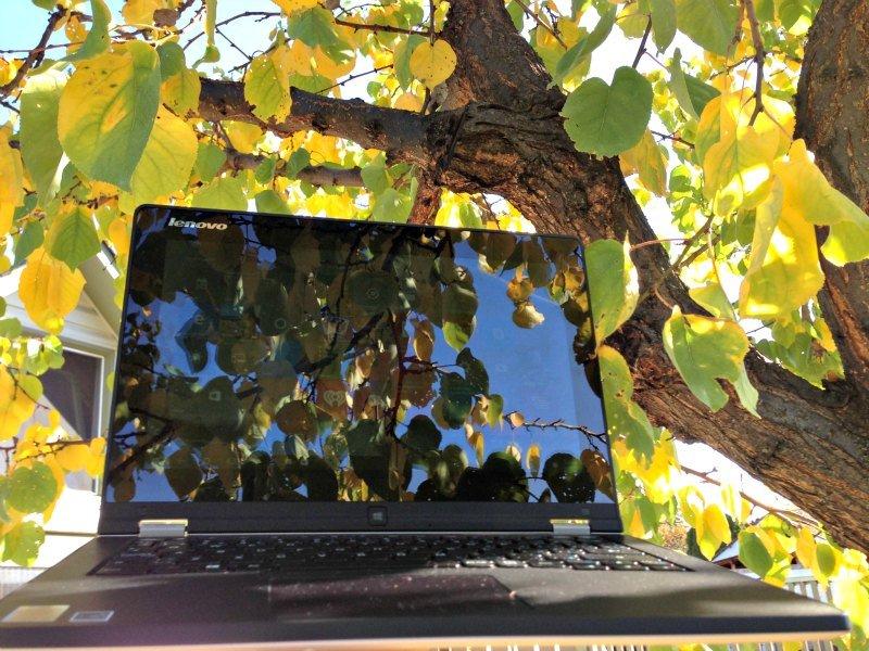Lenovo Yoga outside