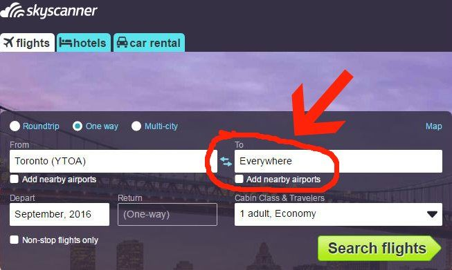 Skyscanner September 2016 Toronto Everywhere Start Arrow