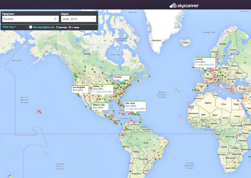 Skyscanner map search