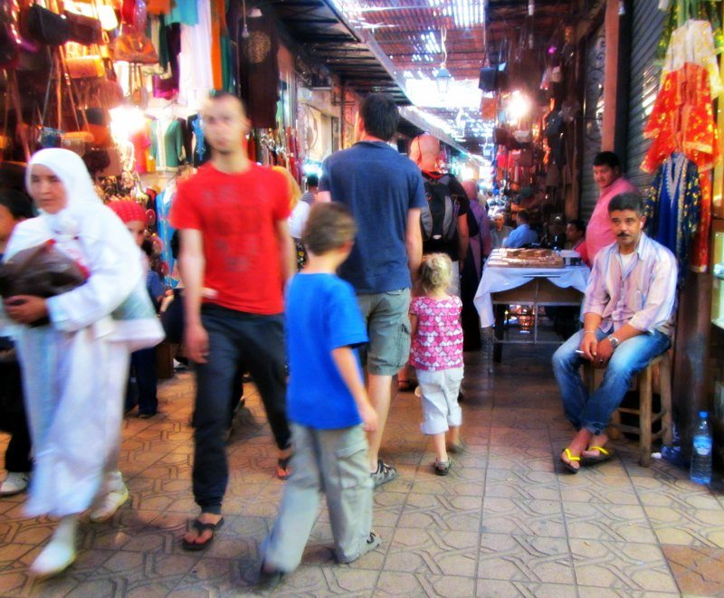 The busy souks in Marrakech