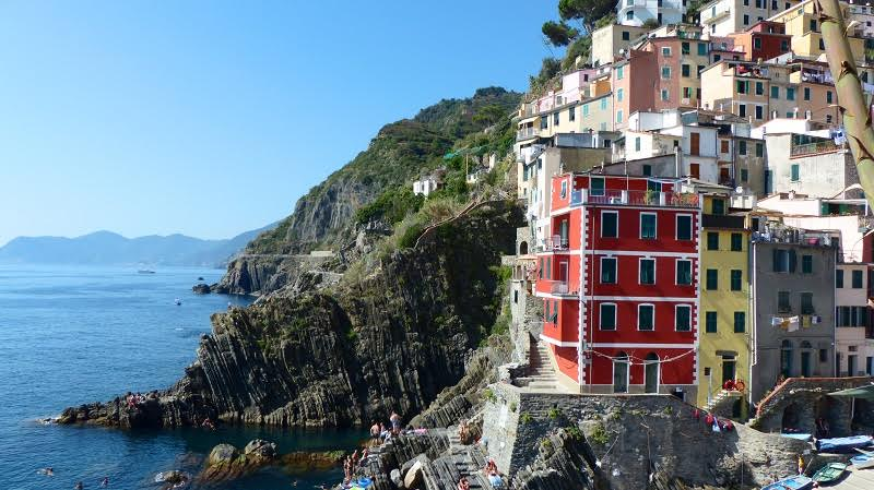 Houses on a cliffside in Cinque Terre Italy