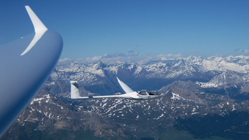 Sailplane over mountains