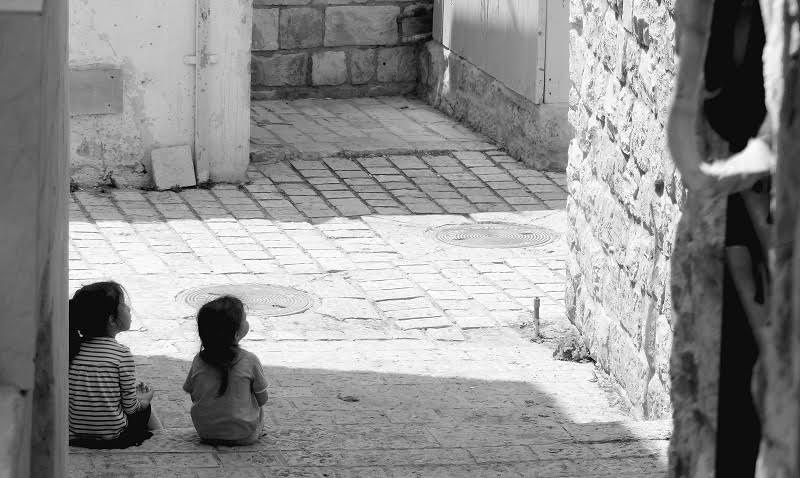 Two children in an alleyway in Tsfat Israel
