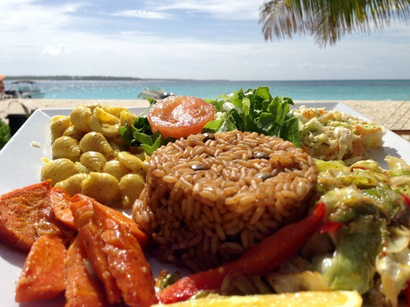 Vegetarian lunch at Sandy Island Anguilla