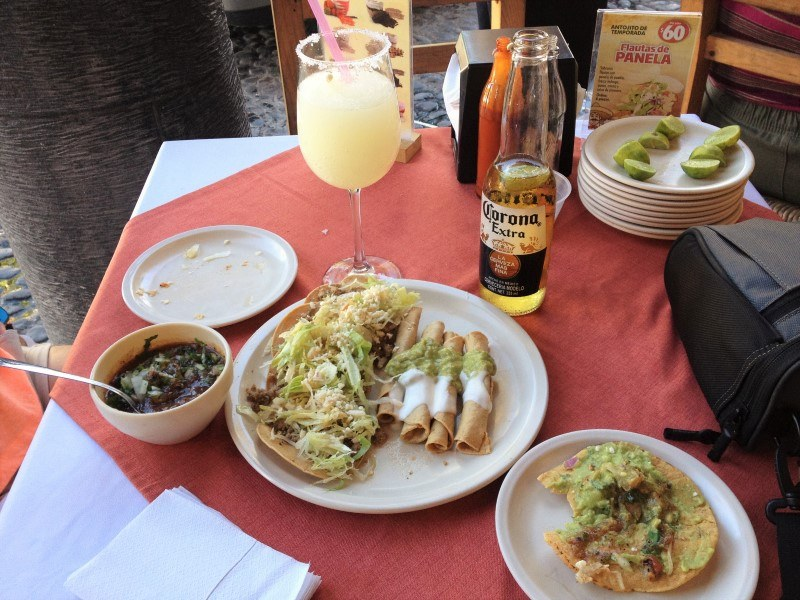 Drinks and taquitos at Don Comalon Restaurant