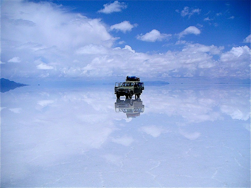 Driving on clouds at Salar de Uyuni