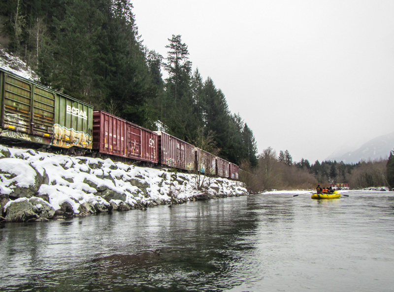 Eagle Float Train Beside the River Eagle Float with Sunwolf in Squamish