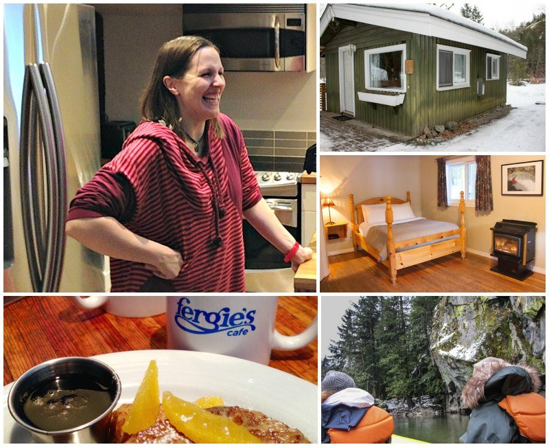 Jess from Sunwolf Lodge inside sunwolf cabins and Eagle float Squamish
