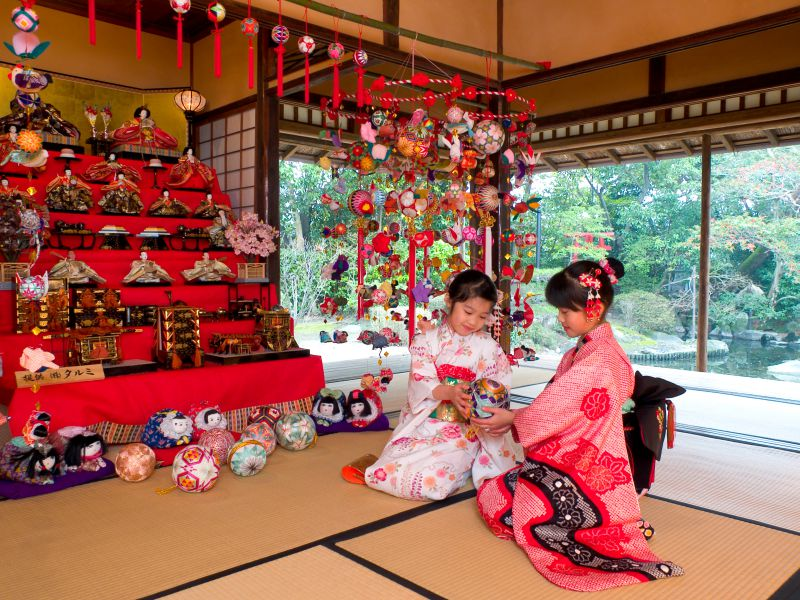 GIrls with colorful Sagemon Ornaments in Japan