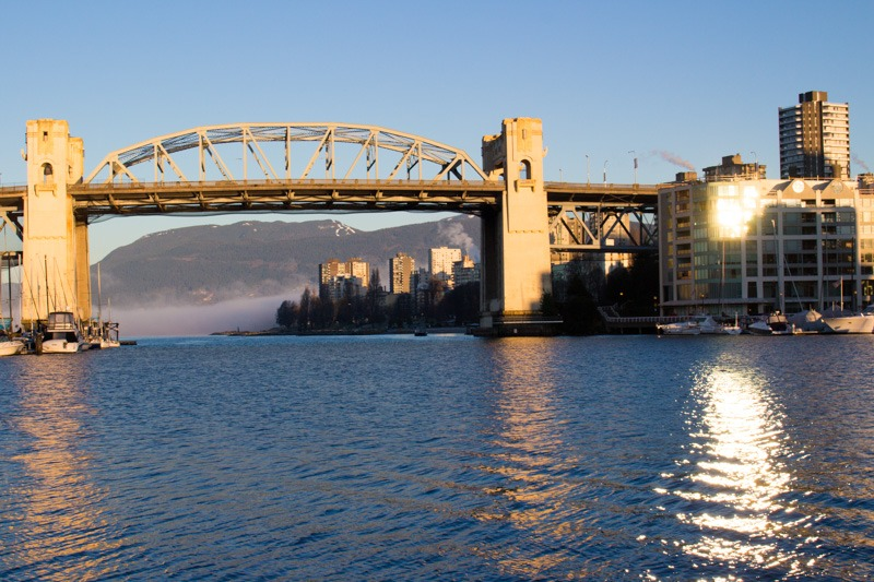 What to do, see and eat in Vancouver, British Columbia. Looking at the Burrard Street Bridge from Granville Island Vancouver