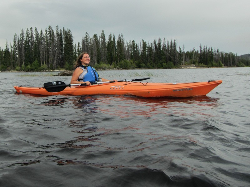 Kayaking on Oyama Lake, British Columbia