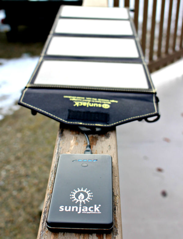 Sunjack solar charger outside