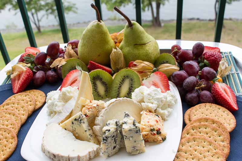 Plate with fruit and cheese at Harrison Hot Springs Resort and Spa