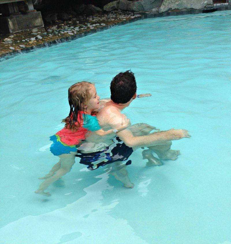 Fun catching a piggy back with Dad at Harrison Hot Springs Resort