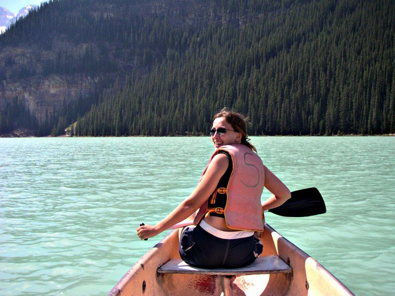 Micki canoeing in Lake Louise