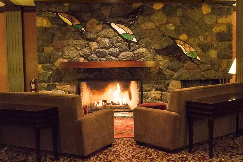 The fireplace at Harrison Hot Springs Resort and Spa
