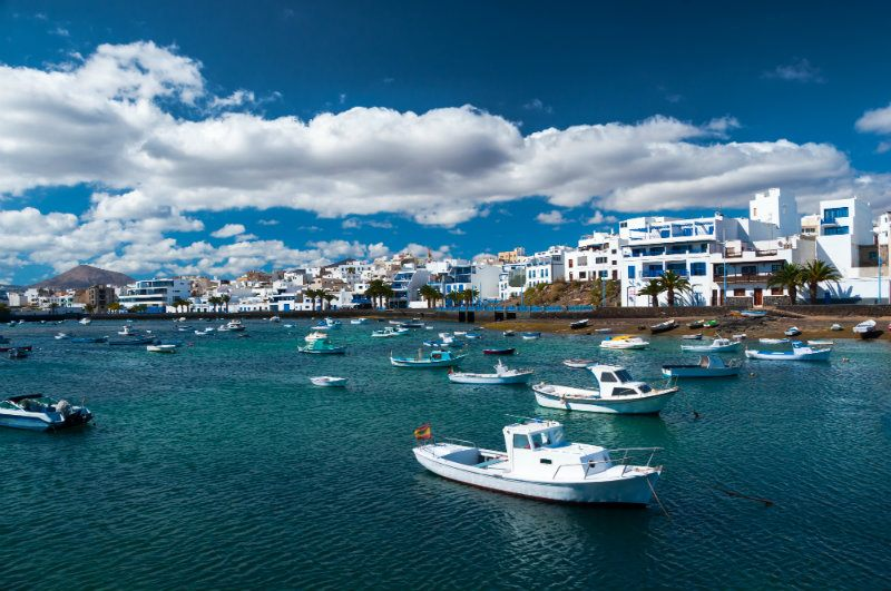White boats floating in the harbour in Arrecife Lanzanote