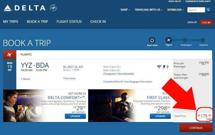 Fare confirmation Delta Toronto to Hamilton Bermuda September 2016 175
