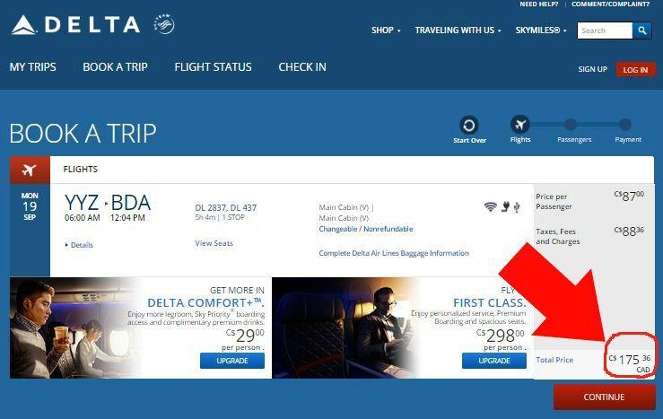Fare confirmation Delta Toronto to Hamilton Bermuda September 2016 175