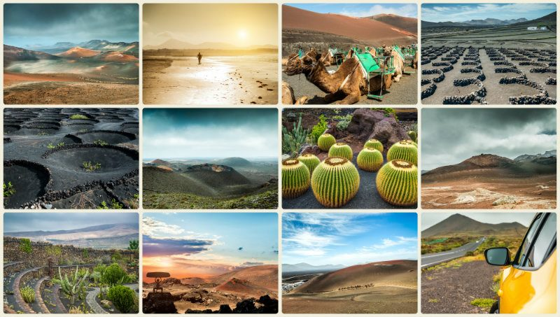 Collage of mountains to sea of Lanzarote