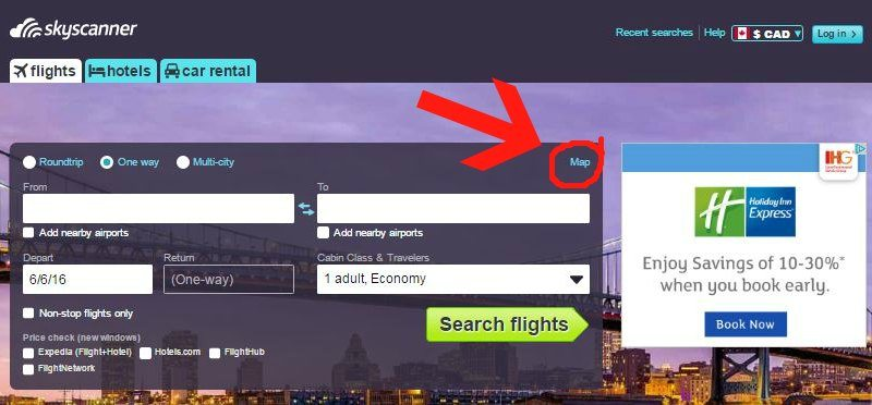 Skyscanner where to find link to the map