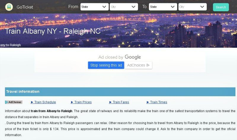 GoTicket Albany NY to Raleigh NC Train Info