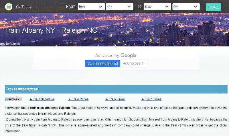 GoTicket Albany NY to Raleigh NC Train Info
