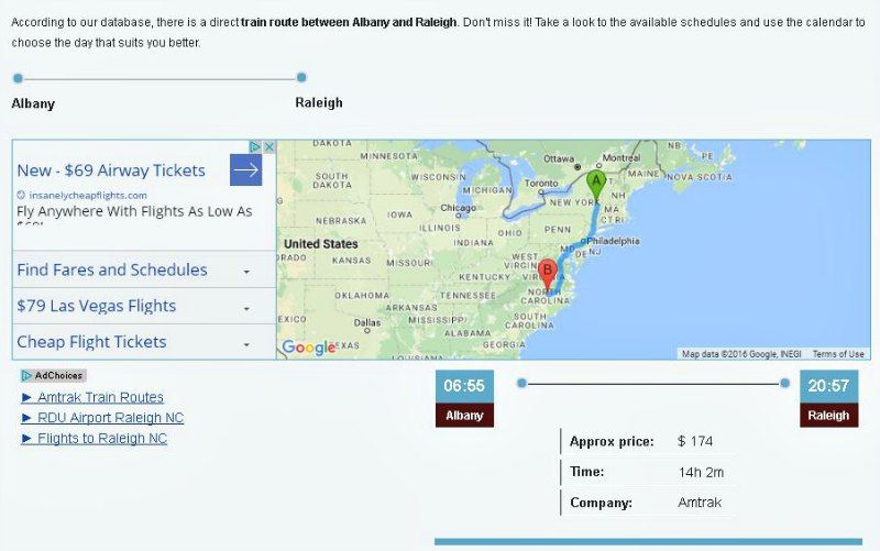 GoTicket Albany NY to Raleigh NC Train Map