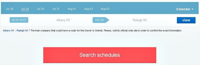 GoTicket Albany Ablany NY to Raleigh NC Train Schedule