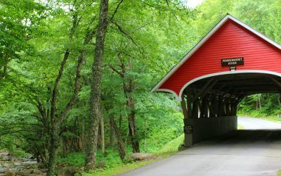 New Hampshire Franconia Notch State Park Covered Bridge over the Pemigewasset River