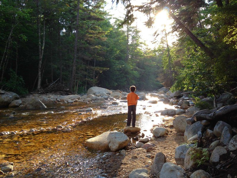 New Hampshire stream by the Kancamagus Highway in the White Mountains