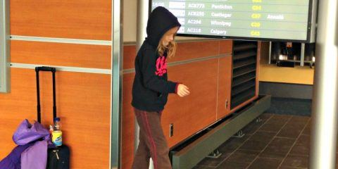 kids in the airport Vancouver Canada