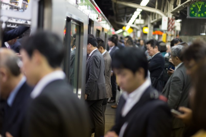 Rushhour on the trains in Japan