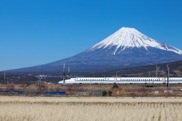 Japan Bullet Shinkansen Train with Mount Fuji in the background