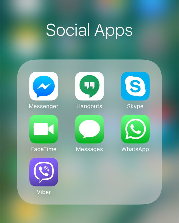 Social App Icons for the iPhone including Hangouts, Skype, Messenger, Whatsapp, Facetime and Viber