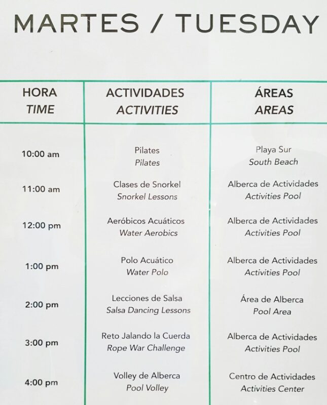 Resort activities at Cozumel Palace