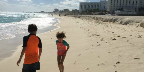 Kids on the Beach in Cancun at Chokmal