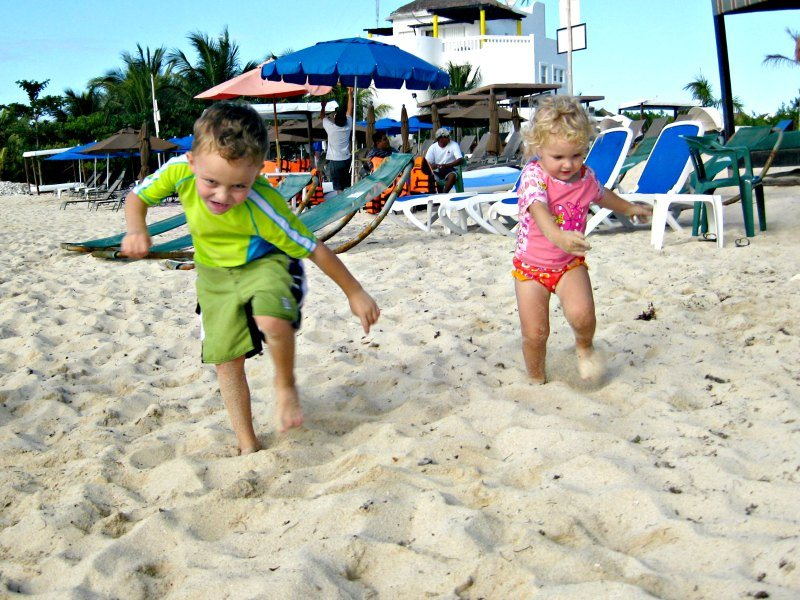 Fun family things to do in Cozumel Kids racing in the Sand in Cozumel.