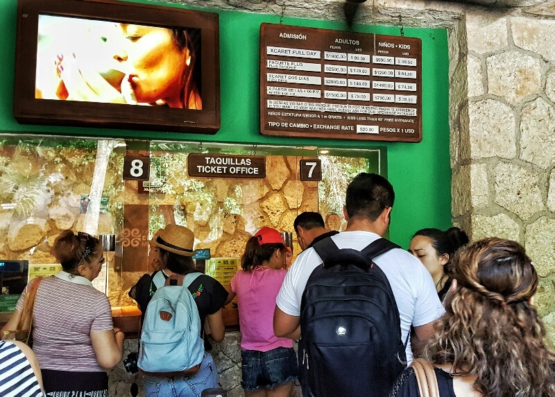 Xcaret ticket booth and prices in MXN pesos