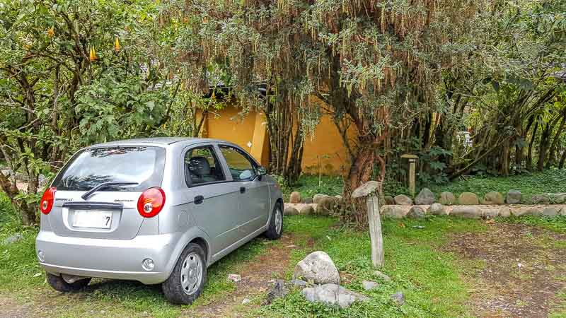 Family cabin parking at Termas Papallacta hotel