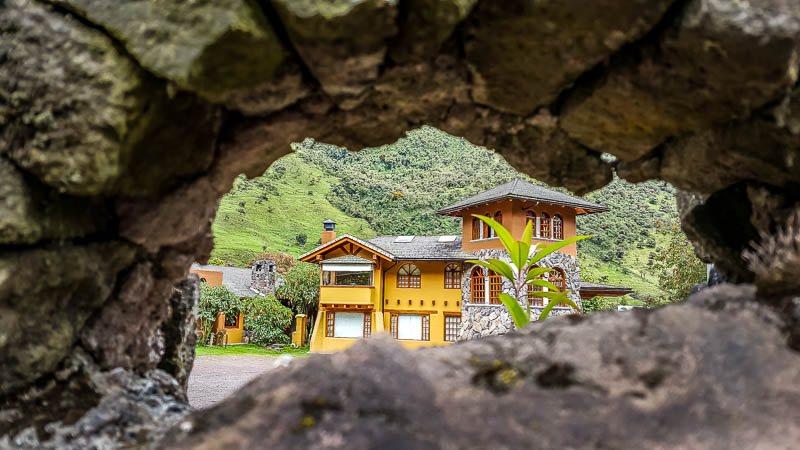 Keyhole peek through stone at Termas Papallacta Hotel