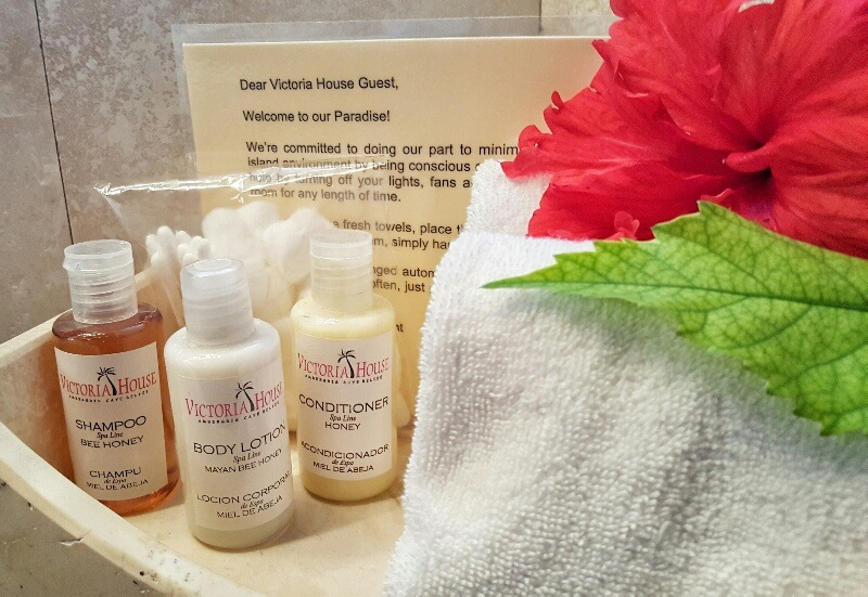 Luxurious toiletries at Victoria House Ambergris Caye