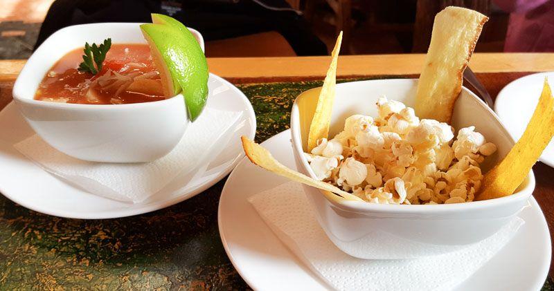 Main restaurant palm heart soup with sides Hotel Termas de Papallacta Ecuador