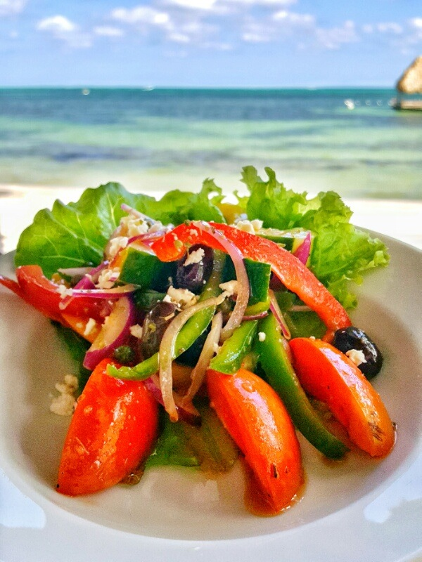 My favorite greek salad at Victoria House Belize