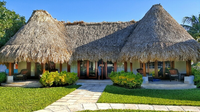 Outside of our villa at Victoria House Ambergris Caye