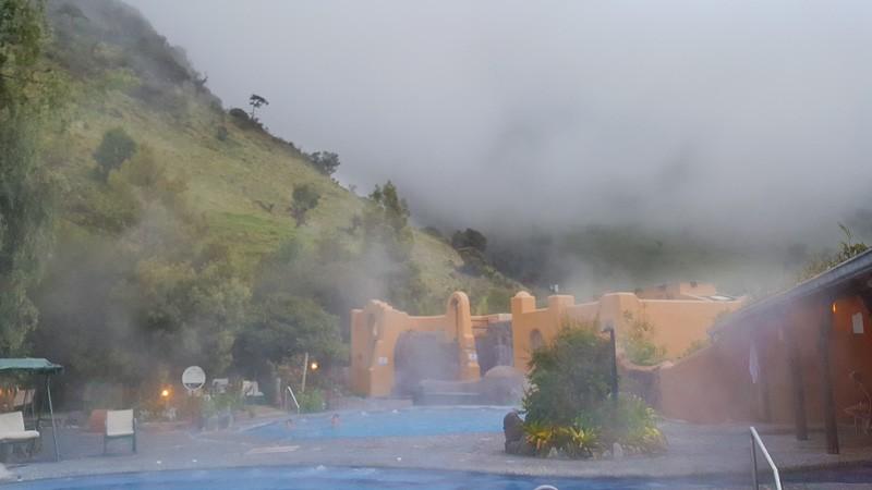 Spa view outside over hot pools Termas Papallacta